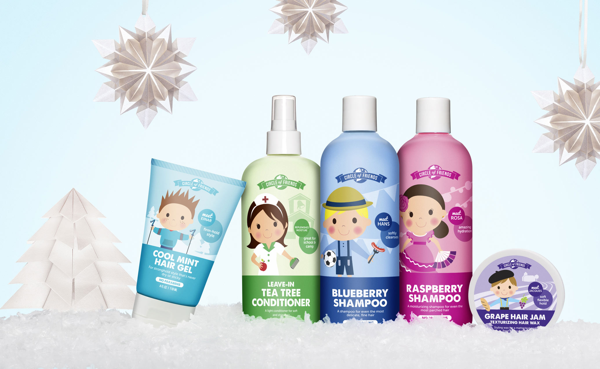 Circle of Friends hair care products in a winter scene